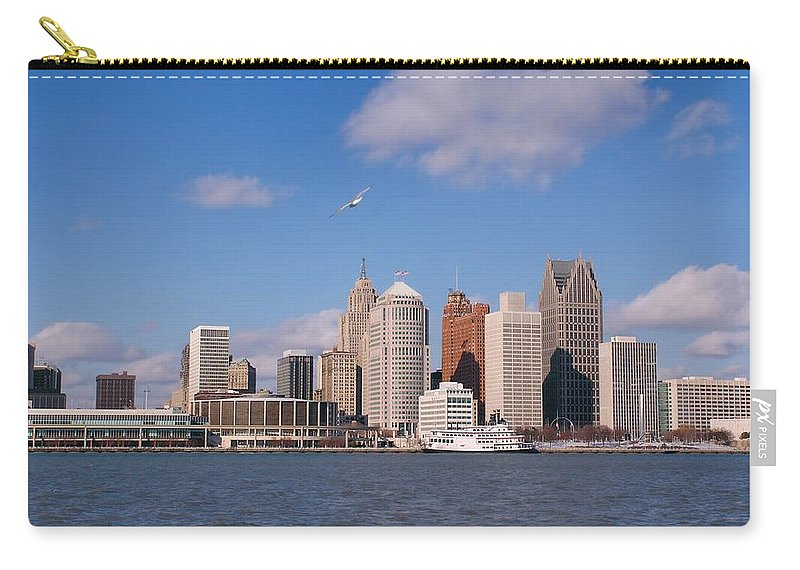 Downtown District Carry-all Pouch featuring the photograph Cold Detroit by Corfoto