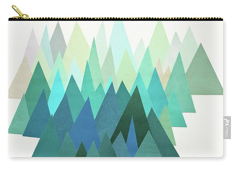 Mountains Carry-all Pouch featuring the mixed media Cold Mountain by Cassia Beck