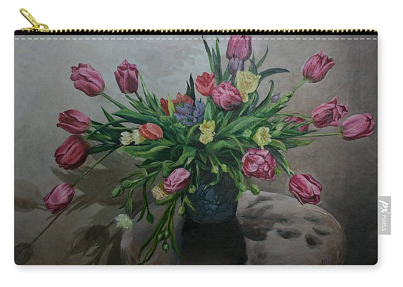 Pink Carry-all Pouch featuring the painting Color Of Natureoil by Maryna Chechelnytsa
