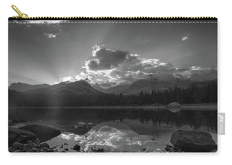Sunset Carry-all Pouch featuring the photograph Colorado Mountain Lake In Black And White by Tony Hake
