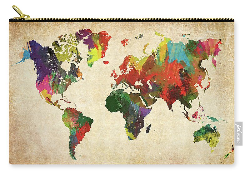 Art Carry-all Pouch featuring the photograph Colored World Map Xxxl by Sorendls