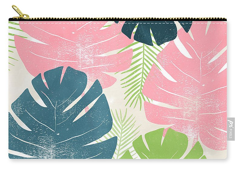 Tropical Carry-all Pouch featuring the mixed media Colorful Palm Leaves 1- Art By Linda Woods by Linda Woods