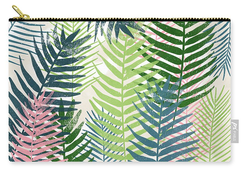 Tropical Carry-all Pouch featuring the mixed media Colorful Palm Leaves 2- Art by Linda Woods by Linda Woods