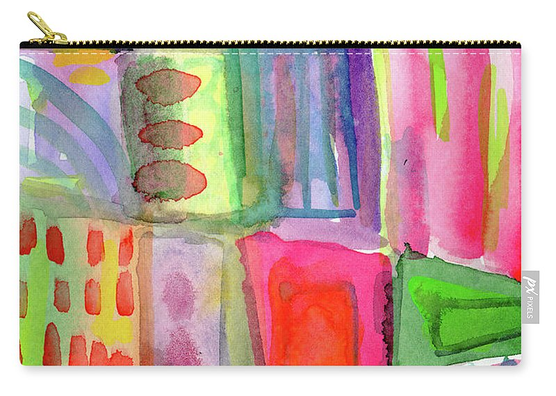 Colorful Carry-all Pouch featuring the painting Colorful Patchwork 2- Art by Linda Woods by Linda Woods
