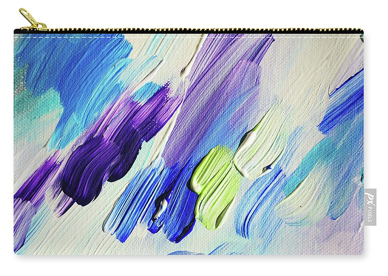 Jenny Rainbow Fine Art Photography Carry-all Pouch featuring the photograph Colorful Rain Fragment 2. Abstract Painting by Jenny Rainbow