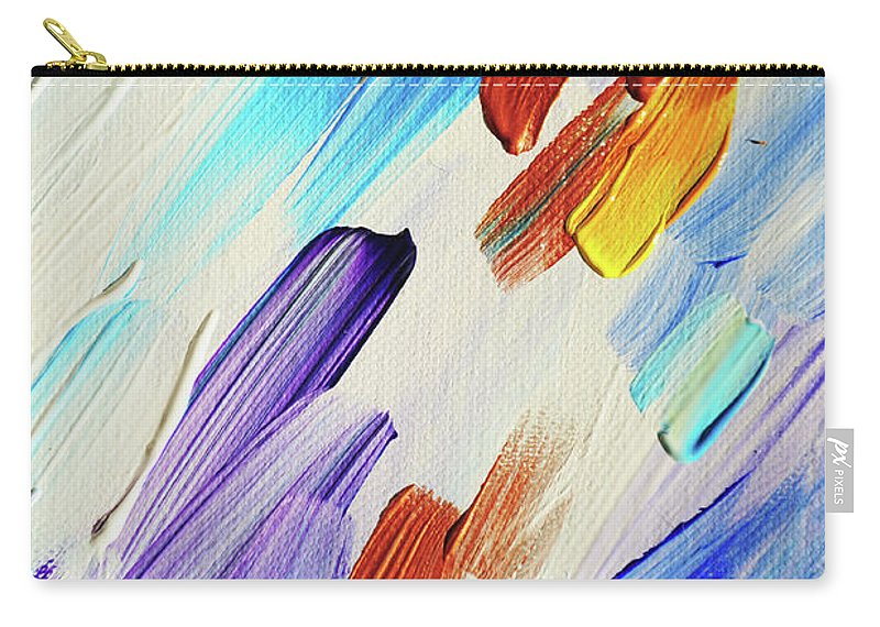 Jenny Rainbow Fine Art Photography Carry-all Pouch featuring the photograph Colorful Rain Fragment 3. Abstract Painting by Jenny Rainbow