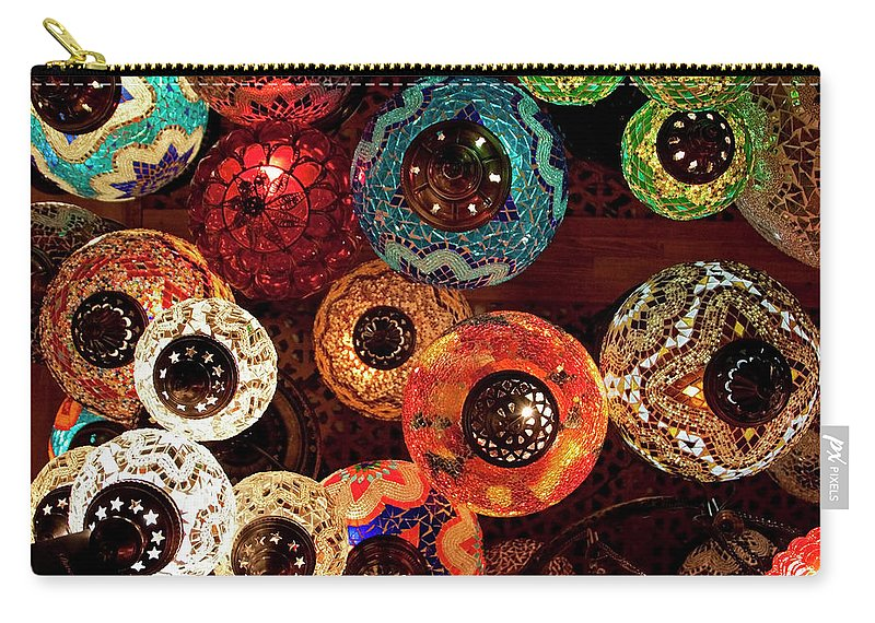Antique Shop Carry-all Pouch featuring the photograph Colorful Turkish Lanterns From The by Wldavies