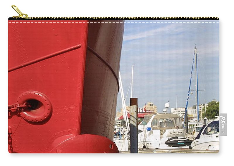 Ship Docked Older Ship Docked Carry-all Pouch featuring the photograph Come To Port by Darren Dwayne Frazier