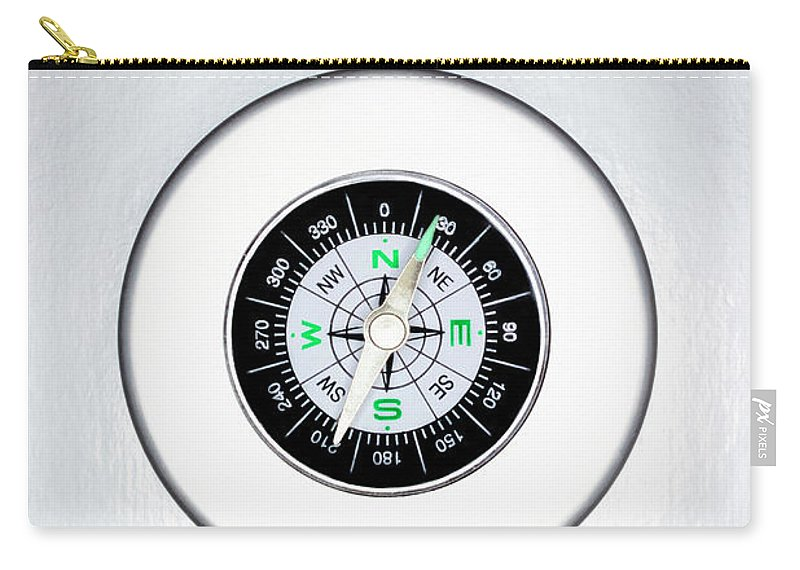 White Background Carry-all Pouch featuring the photograph Compass, Overhead View by Martin Poole