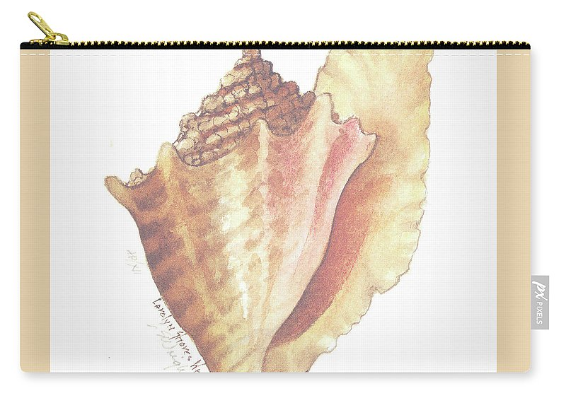 Shell Carry-all Pouch featuring the painting Conch Shell by Carolyn Shores Wright
