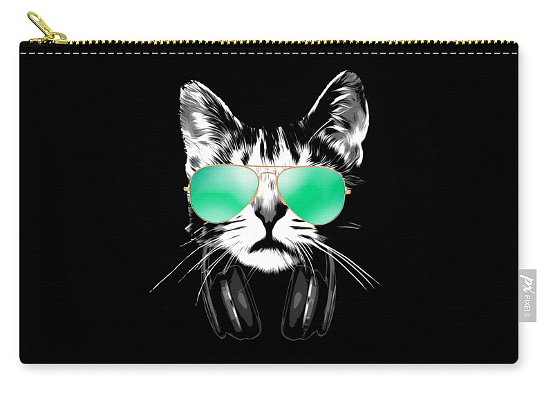 Cat Carry-all Pouch featuring the digital art Cool DJ Cat by Filip Schpindel