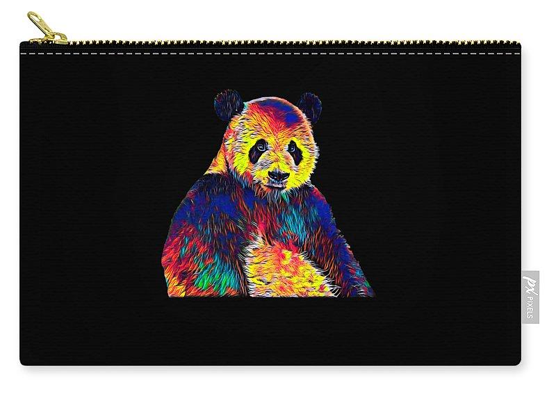 Bear Carry-all Pouch featuring the digital art Cool Panda Little Bear Australia Animal Color Design by Super Katillz