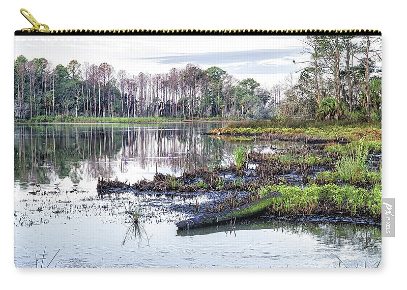 Coosaw Carry-all Pouch featuring the photograph Coosaw - Early Morning Rice Field by Scott Hansen