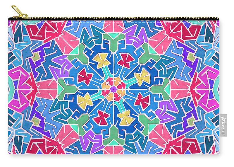 Mandala Carry-all Pouch featuring the digital art Cosmic Sign Post by James Fryer