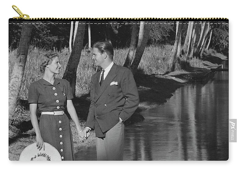 Heterosexual Couple Carry-all Pouch featuring the photograph Couple Outdoors by George Marks
