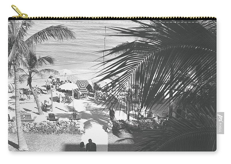 Heterosexual Couple Carry-all Pouch featuring the photograph Couple Walking In Path Towards Beach by George Marks