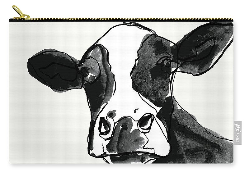 Animals & Nature+farm+cows & Sheep Carry-all Pouch featuring the painting Cow Contour I by Victoria Borges