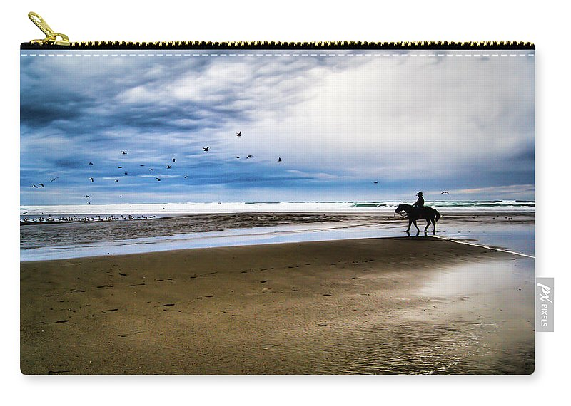Horse Carry-all Pouch featuring the photograph Cowboy Riding Horse On Beach by D. R. Busch