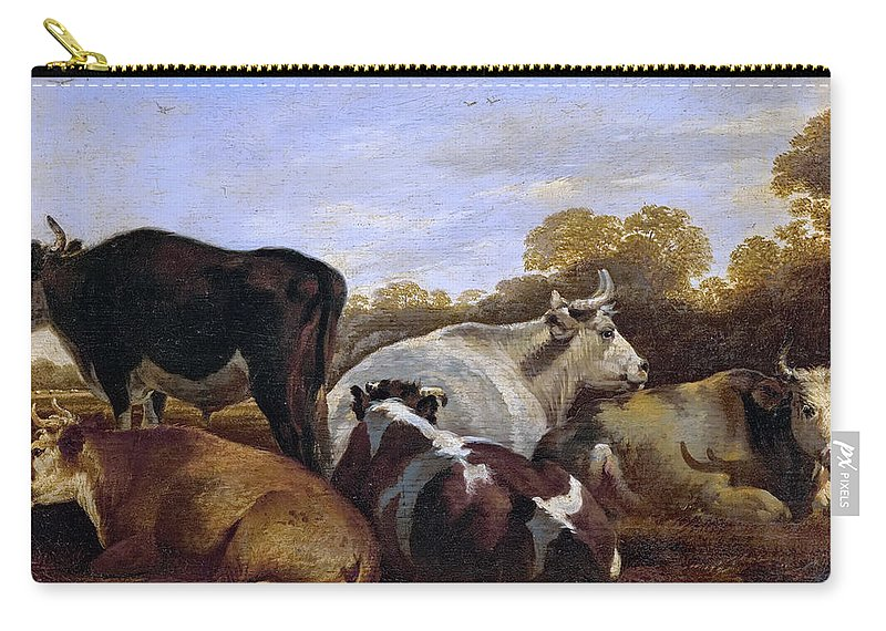 Cornelis Saftleven (1607-1681) Carry-all Pouch featuring the painting Cows by Cornelis Saftleven
