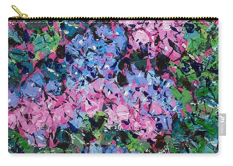 Hydrangeas Carry-all Pouch featuring the painting Cozy Hydrangeas by Larry Lerew