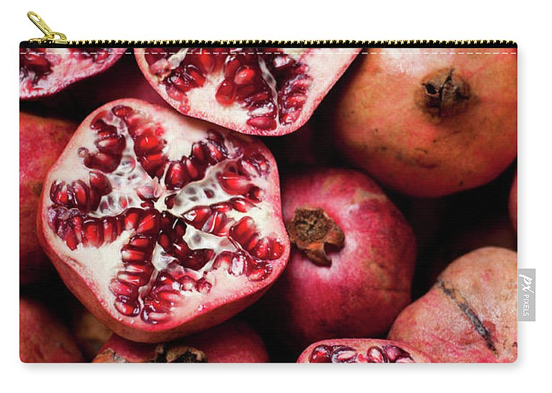 Vitamin Carry-all Pouch featuring the photograph Cracked Pomegranate by Subman