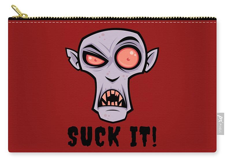 Cartoon Carry-all Pouch featuring the digital art Creepy Vampire Cartoon with Suck It Text by John Schwegel