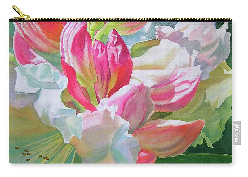 Rhododendron Carry-all Pouch featuring the painting Crimson Rhododendron Buds by Sharon Freeman