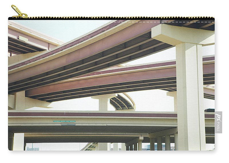 Crisscross Carry-all Pouch featuring the photograph Crisscrossing Freeway Overpasses by Siri Stafford