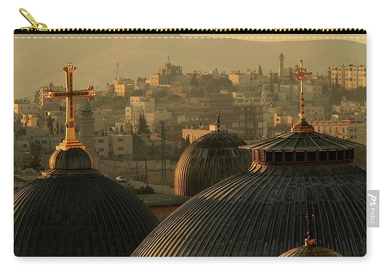 West Bank Carry-all Pouch featuring the photograph Crosses And Domes In The Holy City Of by Picturejohn
