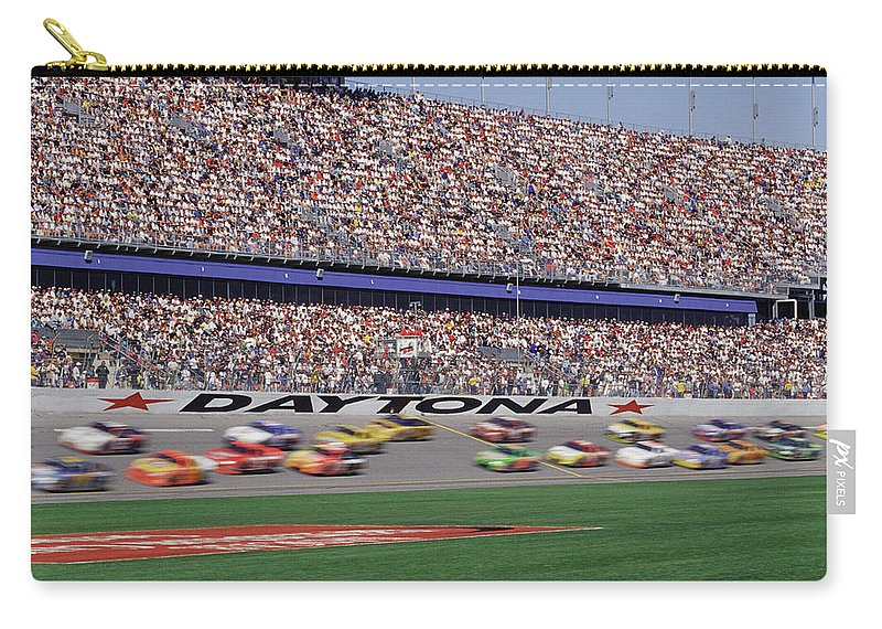 Event Carry-all Pouch featuring the photograph Crowd At Car Race by William R. Sallaz