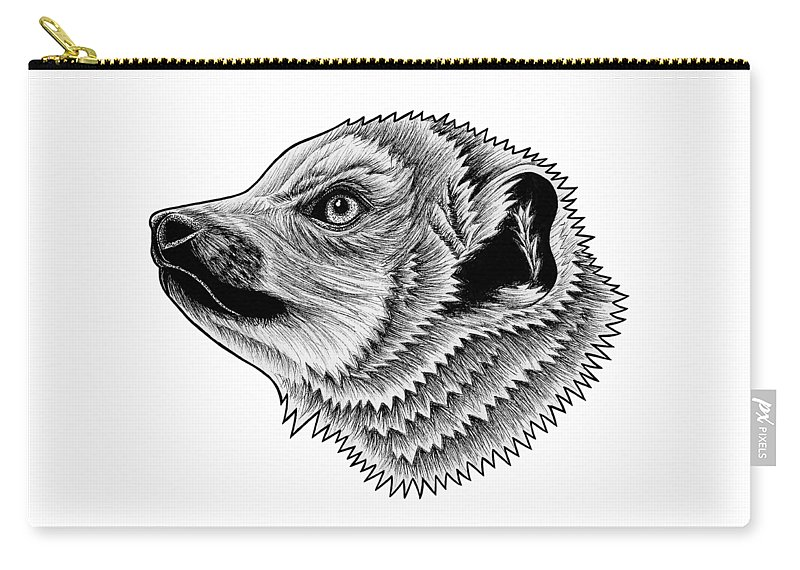 Lemur Carry-all Pouch featuring the drawing Crowned Lemur by Loren Dowding