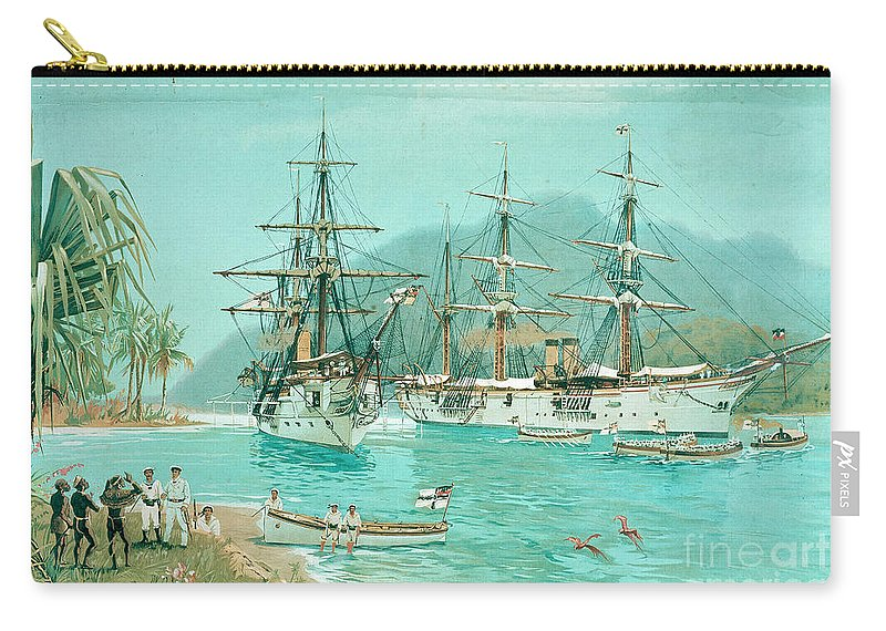 19th Century Carry-all Pouch featuring the painting Cruiser And Gunboat Hoist On Ponape The German Flag by Carl Saltzmann