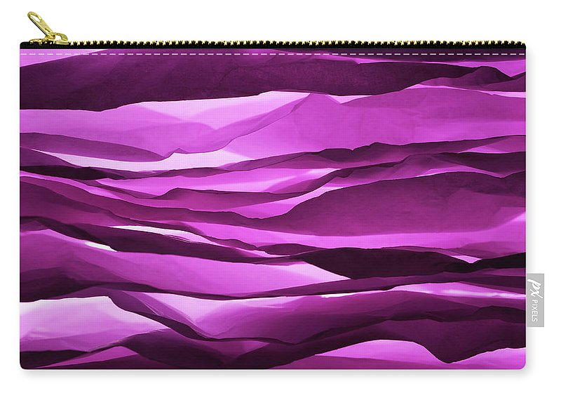 Purple Carry-all Pouch featuring the photograph Crumpled Sheets Of Purple Paper by Ballyscanlon