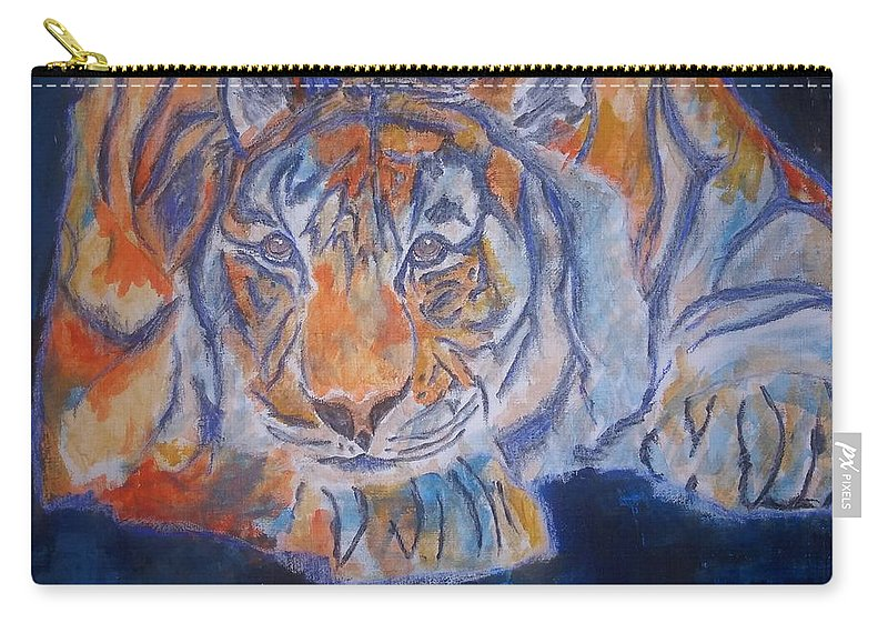 Tiger Carry-all Pouch featuring the mixed media Crush by Crystal Hubbard