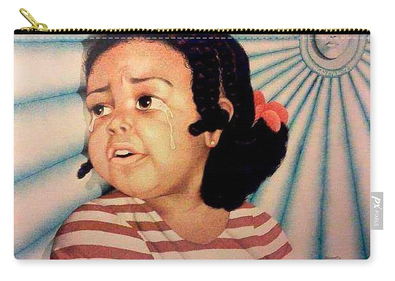 Children Carry-all Pouch featuring the drawing Cry Baby by Jay Thomas II