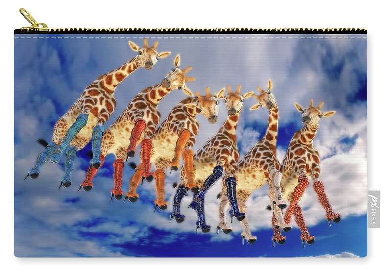 Surreal Carry-all Pouch featuring the digital art Curious Giraffes by Betsy Knapp