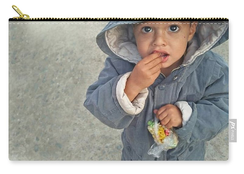 Cute Carry-all Pouch featuring the photograph Cute baby by Imran Khan