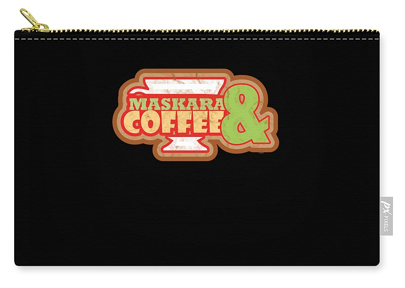Funny Carry-all Pouch featuring the digital art Cute Coffee Mascara Makeup Lovers Gifts by Tom Giant
