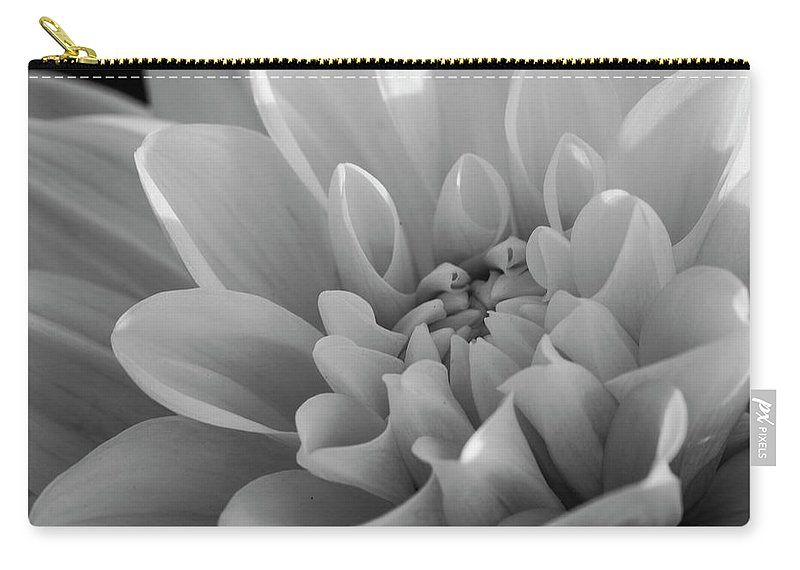 Monochrome Carry-all Pouch featuring the photograph Dahlia In Monochrome by Catherine Avilez