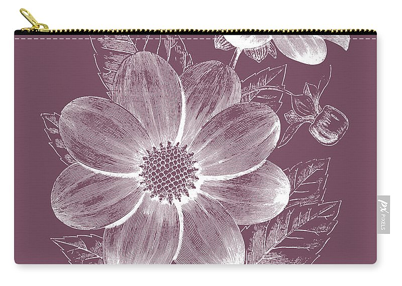 Flower Carry-all Pouch featuring the mixed media Dahlias Purple Flower by Naxart Studio