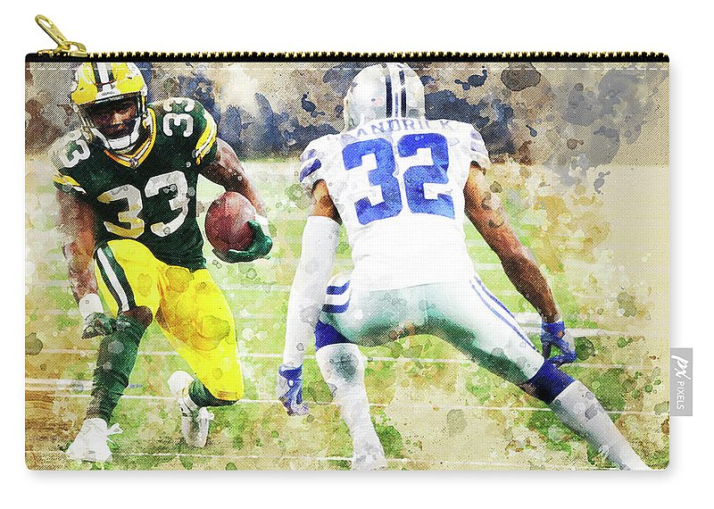 Green Bay Packers Carry-all Pouch featuring the digital art Dallas Cowboys Against Green Bay Packers. by Nadezhda Zhuravleva