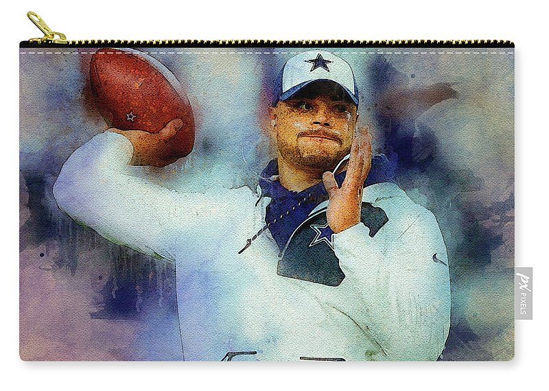Dak Prescott Carry-all Pouch featuring the digital art Dallas Cowboys.dak Prescott. by Nadezhda Zhuravleva