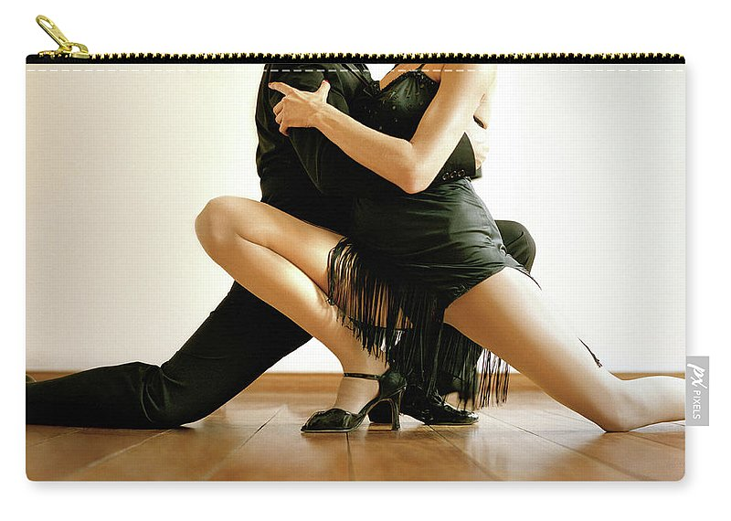Heterosexual Couple Carry-all Pouch featuring the photograph Dancers In Tango Position, Low Section by David Sacks