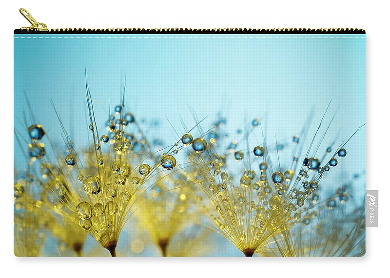 Yellow Carry-all Pouch featuring the photograph Dandelion And Dew - Gold Abstract Macro by Thomasvogel