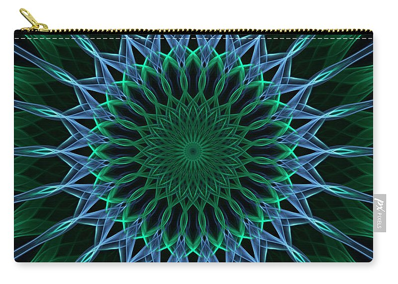 Mandala Carry-all Pouch featuring the digital art Dark Blue And Green Mandala by Jaroslaw Blaminsky