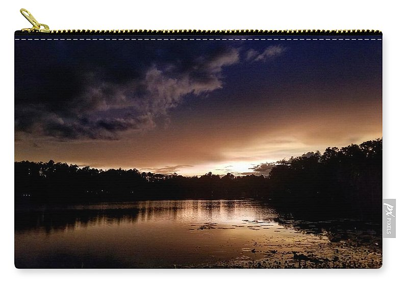 Sunset Carry-all Pouch featuring the photograph Dark Reflections by Shena Sanders