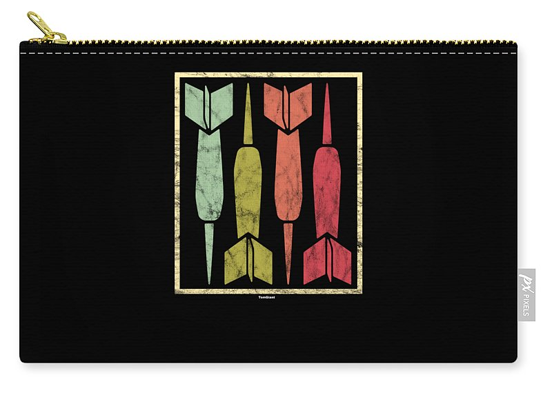 Arrow-and-bow Carry-all Pouch featuring the digital art Dart Vintage Archery Archer Sports Hobby Players by Tom Giant