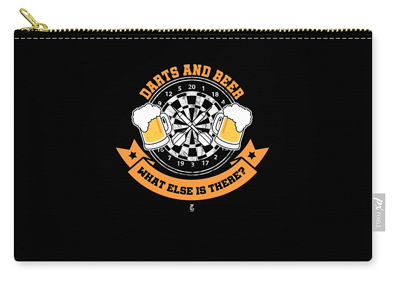 Professional Carry-all Pouch featuring the digital art Darts And Beer What Else Is There Dart Player by Tom Giant