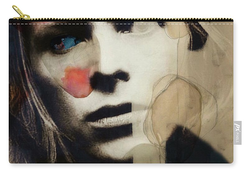 David Bowie Carry-all Pouch featuring the mixed media David Bowie - This Is Not America by Paul Lovering