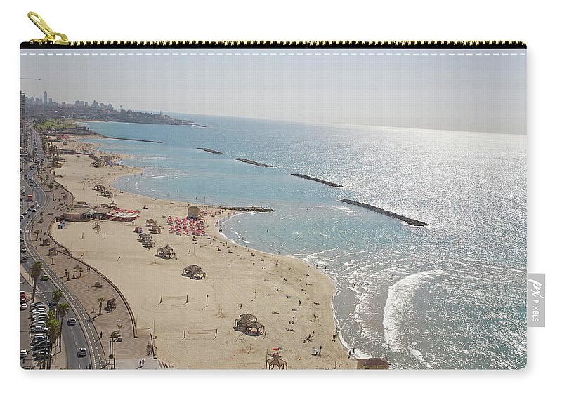 Tranquility Carry-all Pouch featuring the photograph Day View Of Tel Aviv Promenade And Beach by Barry Winiker